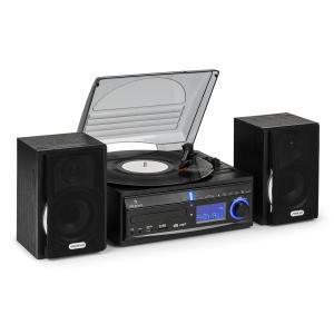 auna DS-2 chaîne Hifi platine vinyle CD enregistreur USB SD AUX-IN FM enceintes