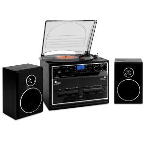 Auna 388-BT Chaine stéréo platine vinyle K7 Bluetooth