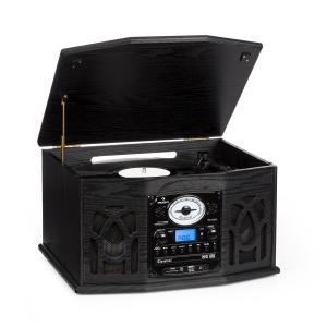 Auna NR-620 Chaîne hifi stéréo tourne-disque enregistrement MP3 en bois noir