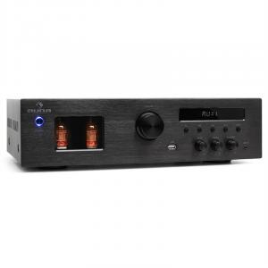 Auna Tube 65 Ampli Hifi à tubes avec tuner radio MP3 USB 2 x 60W RMS, 600W max.