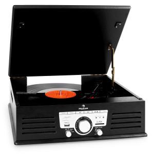 auna TT-92B platine vinyle enceintes intégrées USB SD AUX FM noir