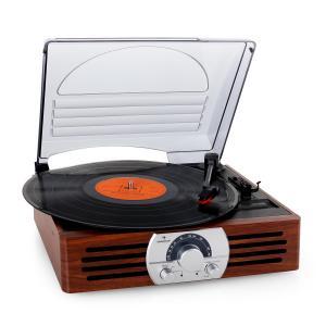 auna TT-83NPlatine vinyle style rétro 33T 45T avec radio FM- bois marron