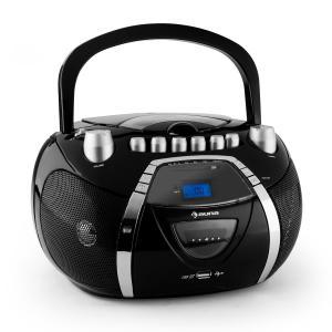 auna Beeboy Boombox radio haut-parleur stéréo lecteur CD K7 MP3 USB -noir