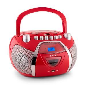 Auna Beegirl Poste radio stéréo CD MP3 USB -rouge