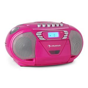 Auna KrissKross Lecteur CD-K7 portable USB MP3 CD FM -rose