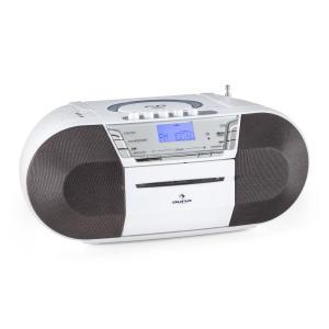 auna Jetpack Boombox Radiocassette portable USB CD MP3 K7 UKW Fonctionnement sur piles-blanc