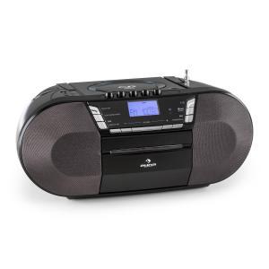 auna Jetpack Boombox Radiocassette portable USB CD MP3 K7 UKW Fonctionnement sur piles -noir