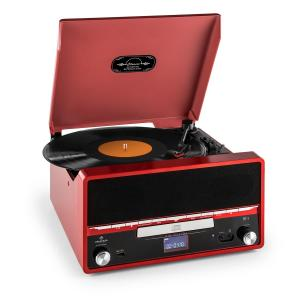 Auna RTT 1922 chaîne HiFi rétro MP3 CD USB FM AUX mode enregistremement - rouge