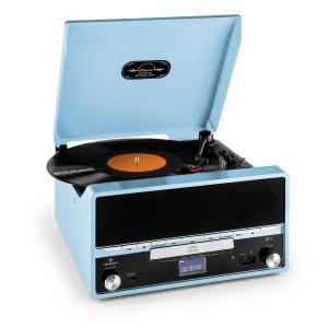 Auna RTT 1922 chaîne HiFi rétro MP3 CD USB FM AUX mode enregistremement - bleu