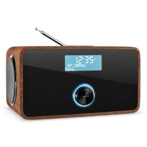 auna DABStep DAB/DAB+ Radio numérique Bluetooth FM RDS réveil -marron