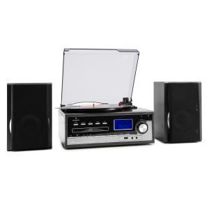 auna Blackwood Chaîne stéréo Tourne-disque USB MP3 Encodage CD K7 radio FM AUX