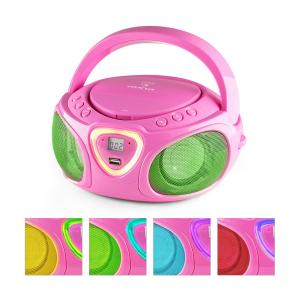 Roadie Boombox CD USB MP3 Radio AM/FM Bluetooth 2.1 Jeu de couleurs LED - rose