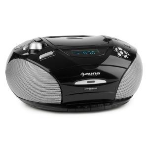 auna RCD220 Boombox CD USB lecteur K7 radio FM PLL MP3 2x2W - noir