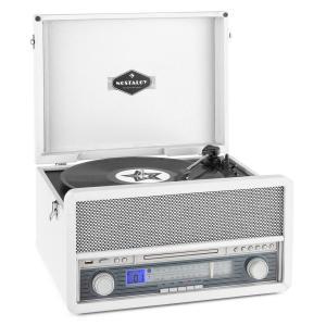 auna Belle Epoque 1907 Tourne-disque rétro & lecteur de cassette BT MC USB CD AU