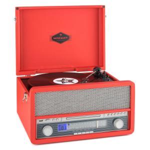 auna Belle Epoque 1907 Tourne-disque rétro & lecteur de K7 BT MC USB CD AUX