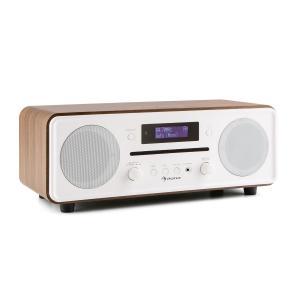 auna Melodia Radio lecteur CD tuner DAB+/FM Bluetooth AUX alarme snooze -marron