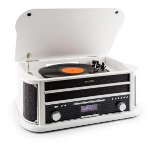 auna Belle Epoque 1908 DAB Chaîne stéréo Rétro Platine vinyle DAB+ Bluetooth FM USB CD MP3 blanc