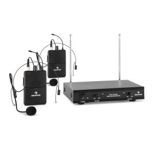 VHF-2-HS Set sans fil 2 canaux système VHF 2x micro-casque portée 50m