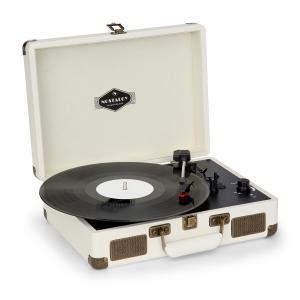 Nostalgy by auna Peggy Sue Lecteur vinyles rétro LP USB AUX Aspect crème/laiton