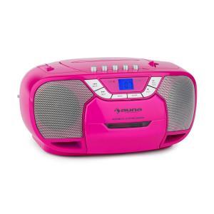 auna BeeGirl Boom Box Ghettoblaster Radio FM lecteur CD lMP3 K7 USB - rose
