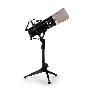Set micro studio avec micro XLR noir et pied de table