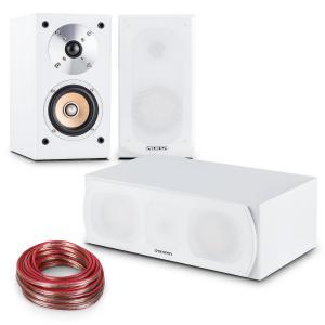 auna Linie-501 Set HiFi 2 enceintes d'étagère + enceinte centrale + câble 10m