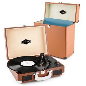 auna Peggy Sue Record Collector Set Tourne-disque rétro valise à vinyles -marron