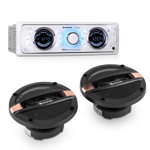 auna Set Hifi voiture Autoradio MP3 USB SD AUX RDS + enceintes 4 voies
