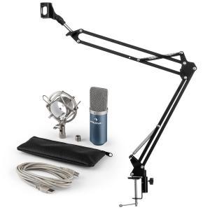 auna MIC-900BL USB Set microphone V3 micro condensateur perchette cardioïde bleu