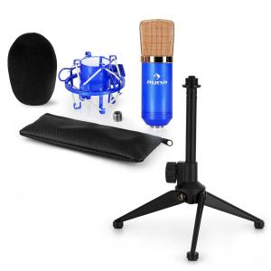 auna CM00BG Set V1 - Micro de studio + araignée + pied de table - noir & or