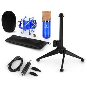 auna CM001BG Set V1 Microphone à condensateur + Adaptateur USB + Pied - bleu