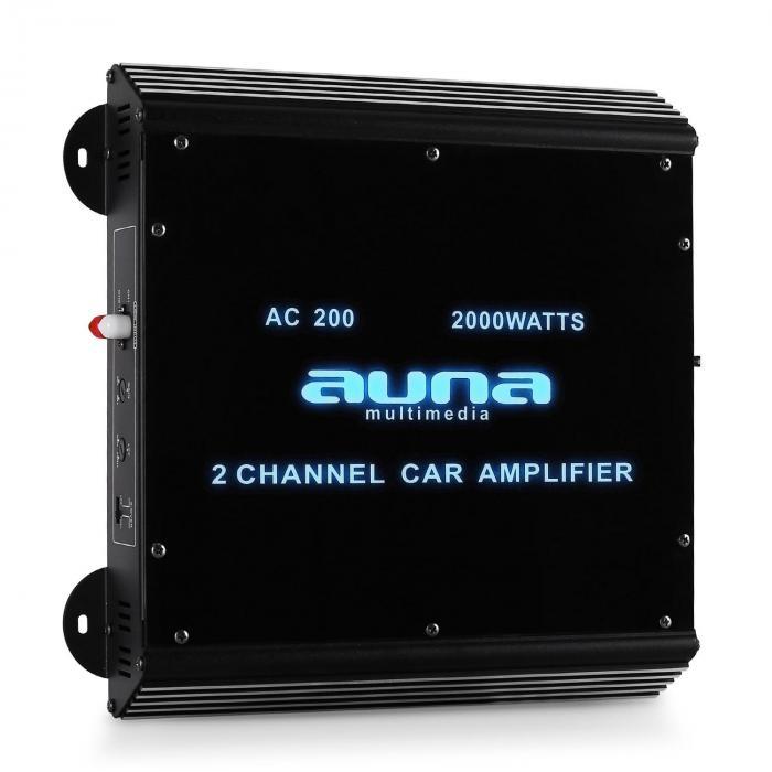 ampli auto 2000W à 2 canaux auna en plexiglass