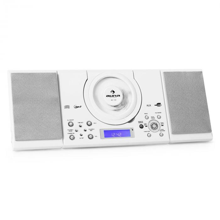 MC-120 Mini chaine stéréo Lecteur MP3 CD USB Blanc Blanc