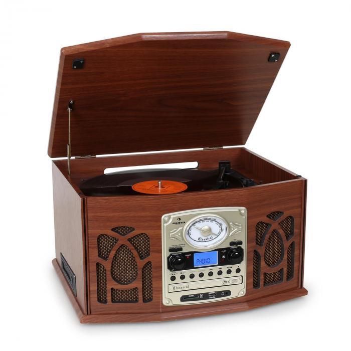 NR-620 Chaîne hifi stéréo tourne-disque enregistrement en bois marron