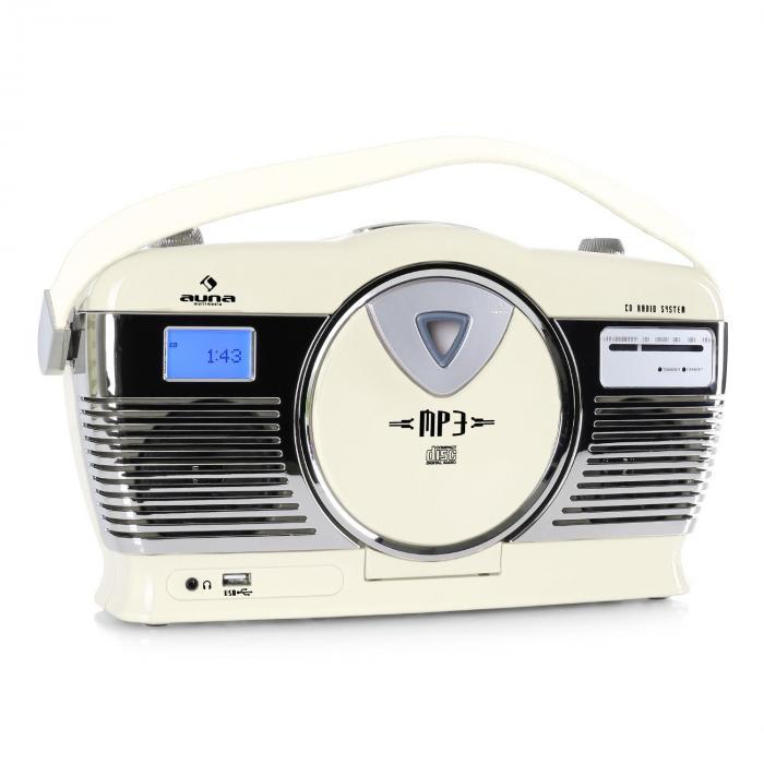 RCD-70 Radio rétro FM USB CD batterie -crème