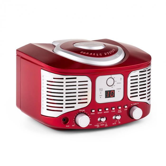 RCD320 Lecteur CD rétro FM AUX -rouge Rouge