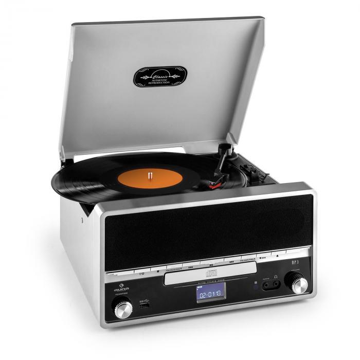 RTT 1922 chaîne stéréo rétro MP3 CD USB FM AUX enregistremement -argent