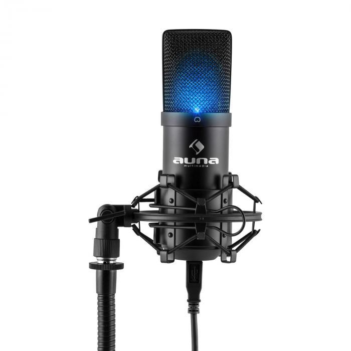 MIC-900B-LEDMicrophone à condensateur USB Studio -noir