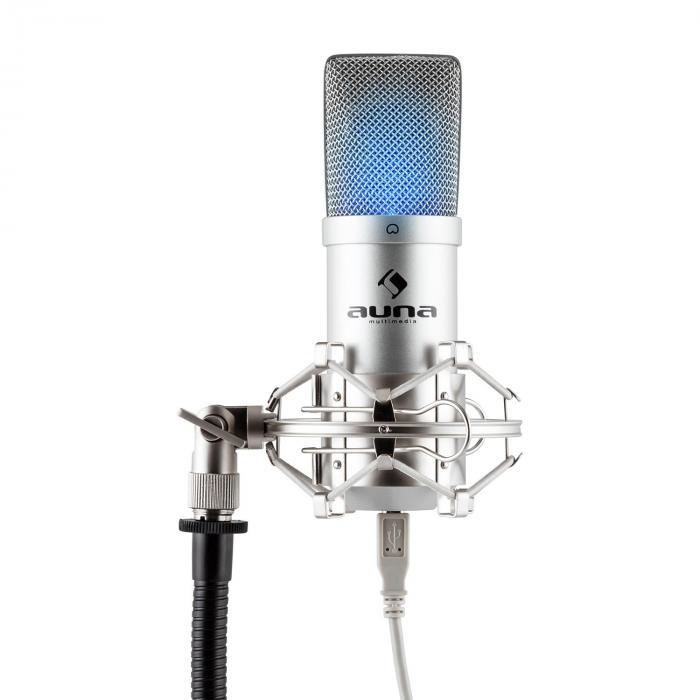 MIC-900S-LEDMicrophone à condensateur USB Studio -argent