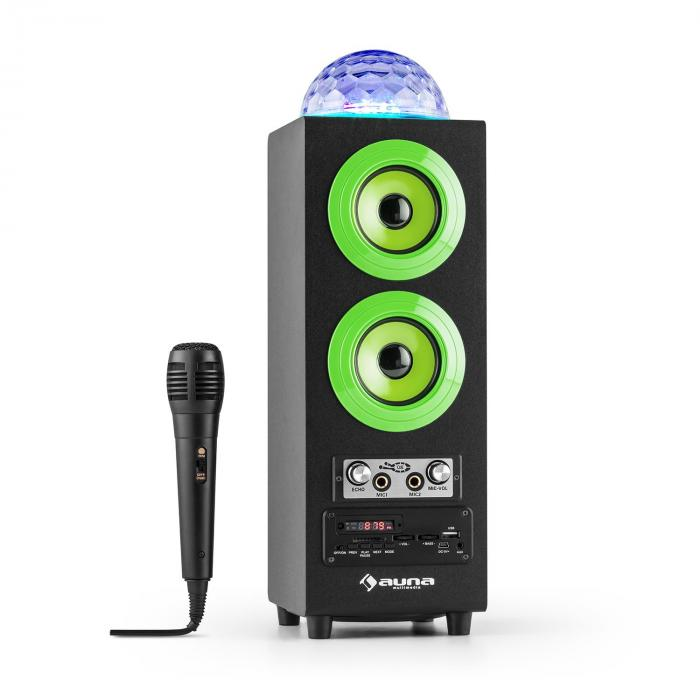 DiscoStar Green Enceinte portable Bluetooth 2.1 USB SD UKW AUX LED -verte