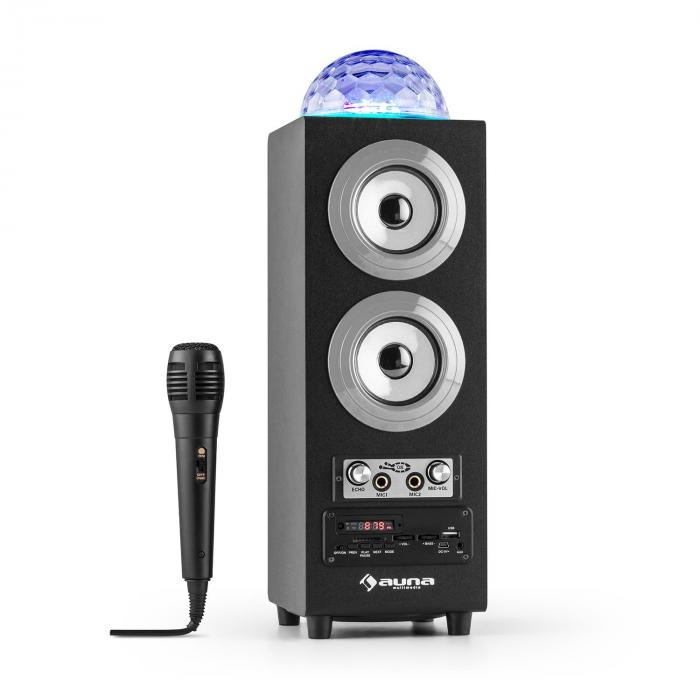 DiscoStar Silver Enceinte portable Bluetooth 2.1 USB SD UKW AUX LED -argent