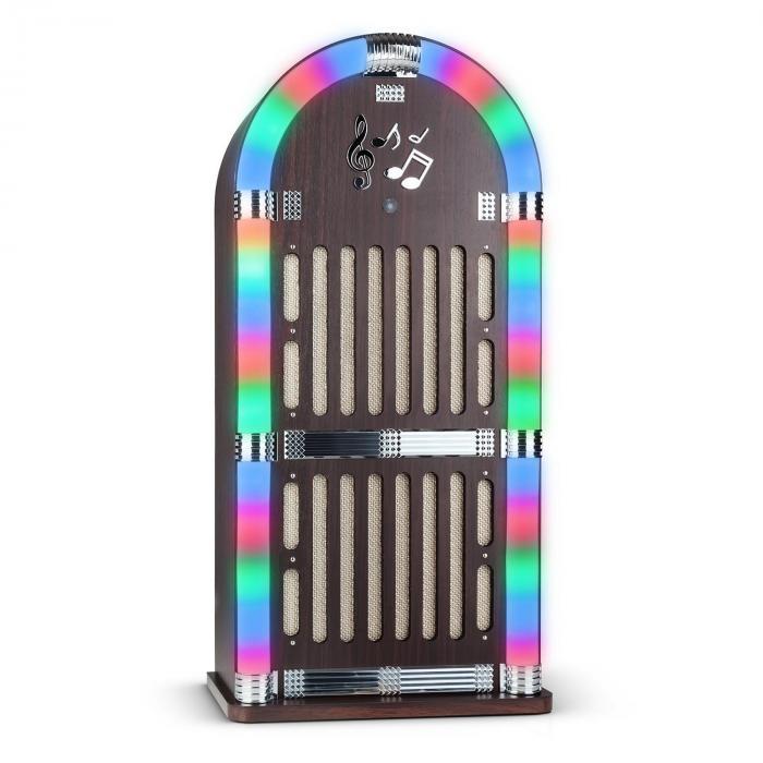 Memphis DK Jukebox Bluetooth radio FM 2x AUX jeu de lumières LED bois