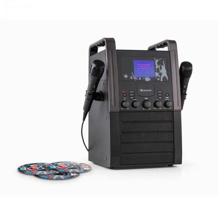 KA8B-V2 BK Chaîne karaoké Lecteur CD AUX 2 micros 3x CD+G -noir
