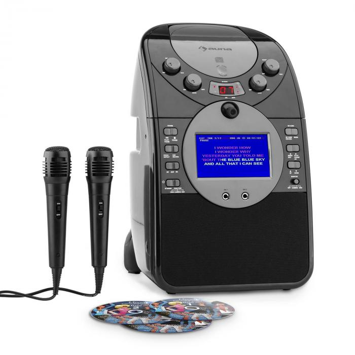 ScreenStar Chaîne karaoké caméra CD USB SD MP3 + 2 micros +3 CD+G -noir