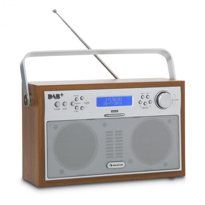 Akkord Radio Numérique Portable DAB+/PLL Tuner FM Alarme LCD – noix