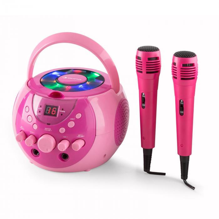 SingSing Lecteur karaoké CD CD+G portable effets LED+ 2 micros -rose