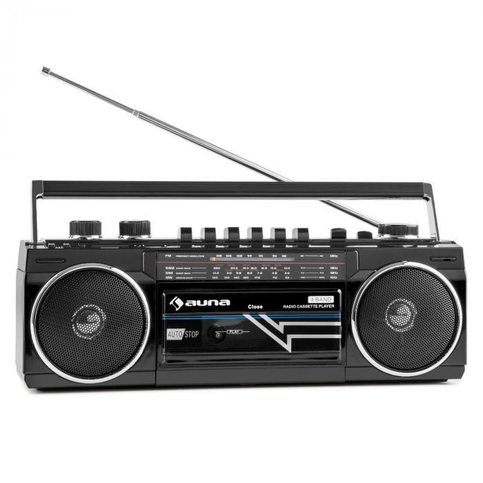 Duke Radio cassette rétro Boombox USB MP3 SD Bluetooth tuner FM -noir Noir