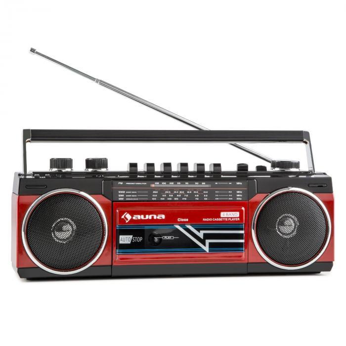 Duke Radio cassette rétro Boombox USB MP3 SD Bluetooth tuner FM -rouge Rouge