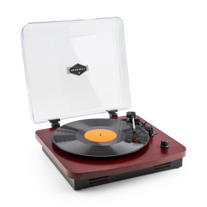 TT370 Tourne-disque Platine vinyle rétro haut-parleurs intégrés USB MP3 AUX – bordeaux