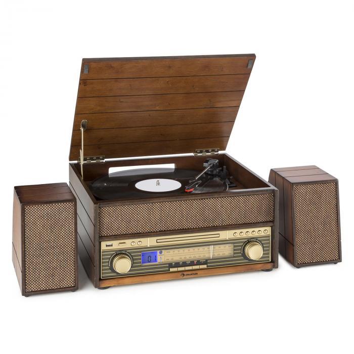 Epoque 1909 Système audio rétro Tourne-disque Cassette Bluetooth USB CD AUX